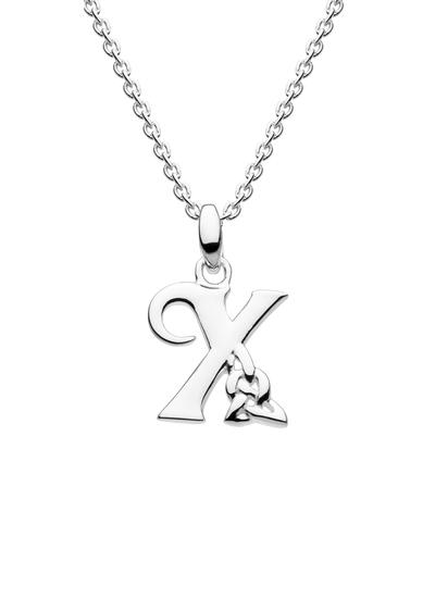 Sterling Silver Celtic Knot Initial Pendant - X