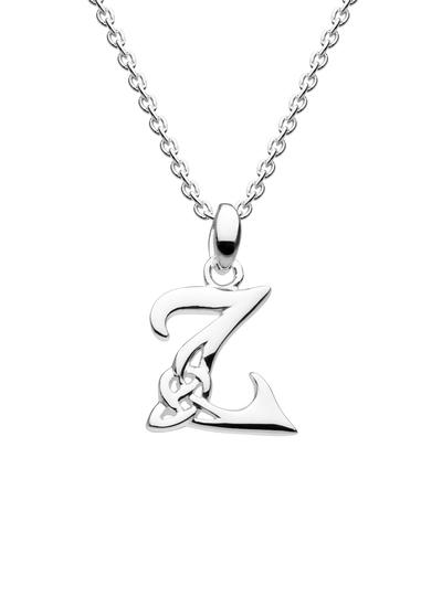 Sterling Silver Celtic Knot Initial Pendant - Z