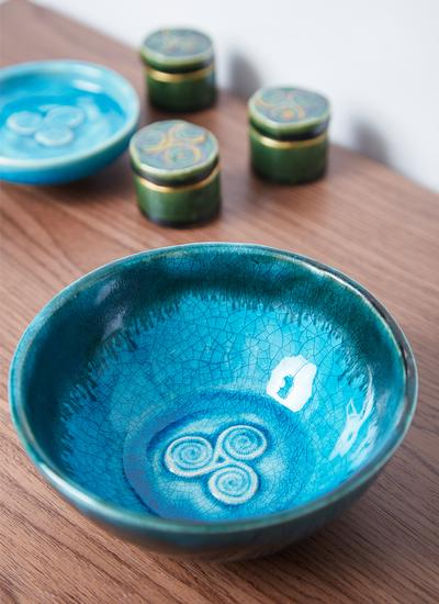 Triple Spiral Blue Bowl