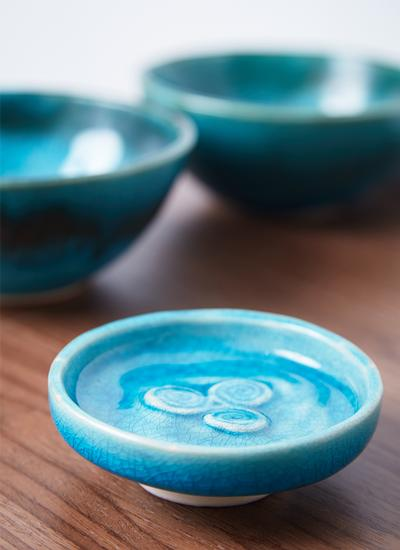 Triple Spiral Blue Ring Dish
