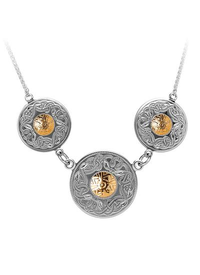 Celtic Warrior Triple Disc Pendant with 18K Gold Bead