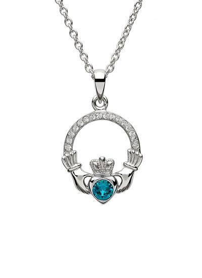 Claddagh Birthstone Pendant With Swarovski Crystals - December