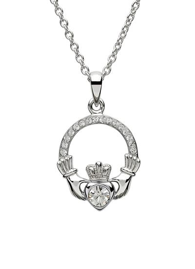 Claddagh Birthstone Pendant With Swarovski Crystals - April