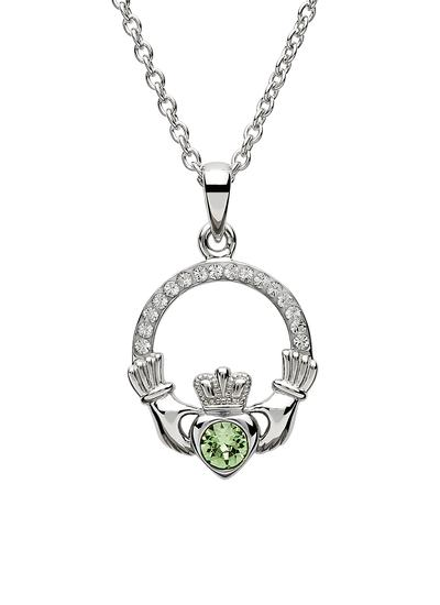 Claddagh Birthstone Pendant With Swarovski Crystals - August