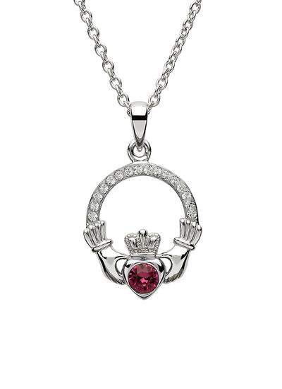 Claddagh Birthstone Pendant With Swarovski Crystals - February