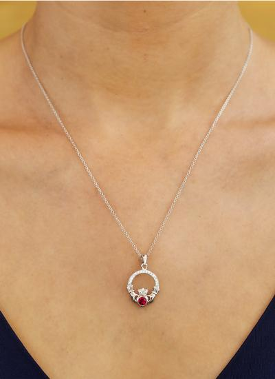 Claddagh Birthstone Pendant With Swarovski Crystals - January