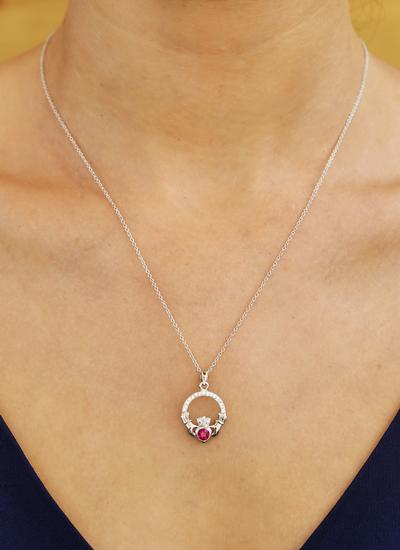 Claddagh Birthstone Pendant With Swarovski Crystals - July