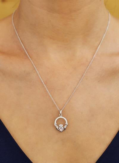 Claddagh Birthstone Pendant With Swarovski Crystals - June