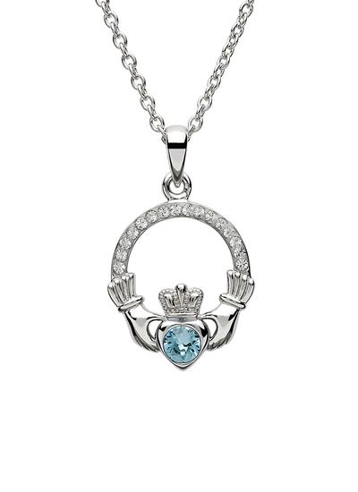 Claddagh Birthstone Pendant With Swarovski Crystals - March
