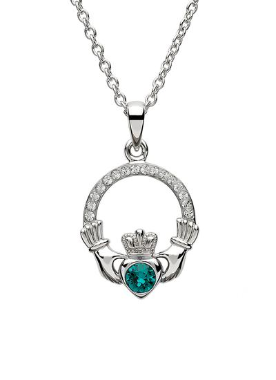 Claddagh Birthstone Pendant With Swarovski Crystals - May