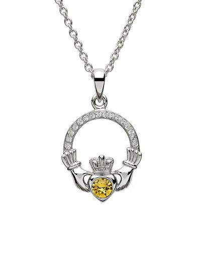 Claddagh Birthstone Pendant With Swarovski Crystals - November