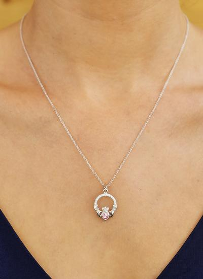Claddagh Birthstone Pendant With Swarovski Crystals - October