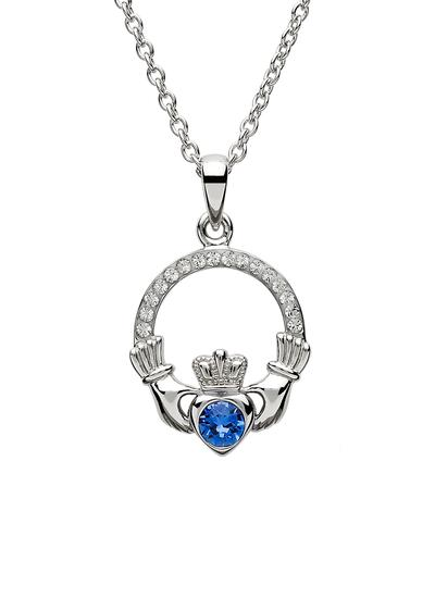 Claddagh Birthstone Pendant With Swarovski Crystals - September