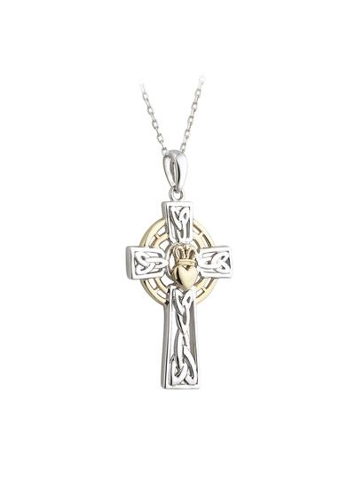 10K Gold & Sterling Silver Claddagh Cross Pendant