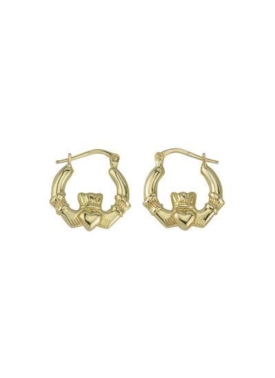 14K Gold Claddagh Creole Earrings