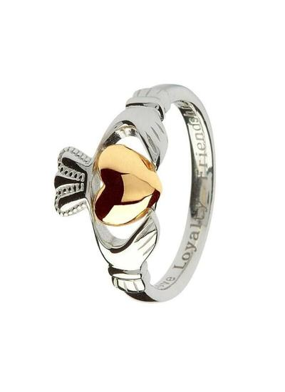 Sterling Silver Claddagh Ring with 10K Gold Heart