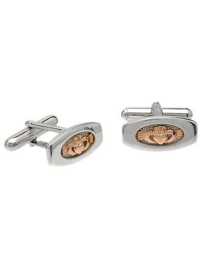 Sterling Silver & Rose Gold Claddagh Cufflinks