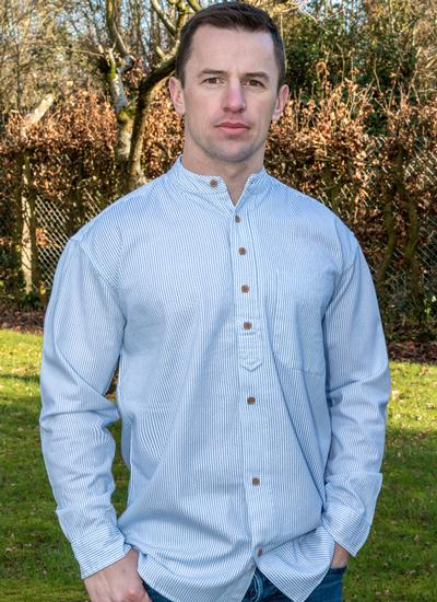 Collarless Grandfather Shirt with Blue Stripe