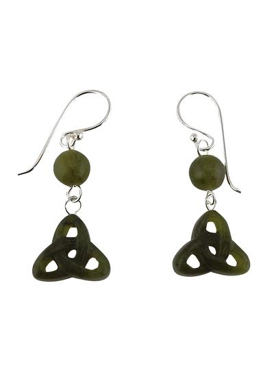 Connemara Marble Carved Trinity Knot Earrings
