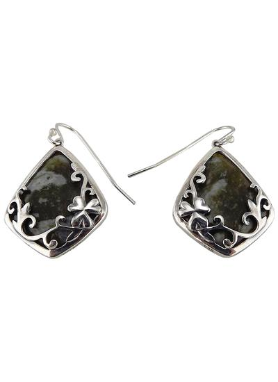 Connemara Marble Diamond Shaped Silver Earrings