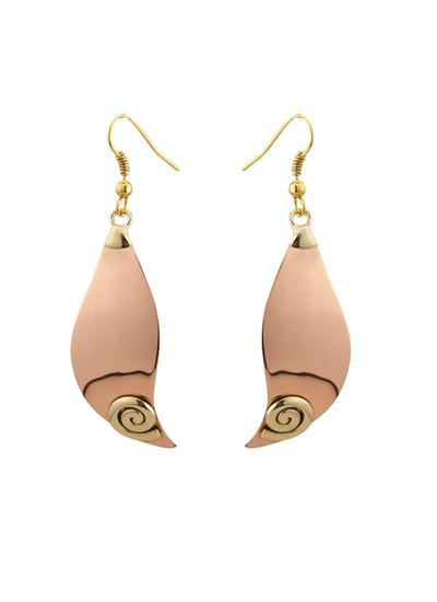 Copper Spiral Wave Drop Earrings