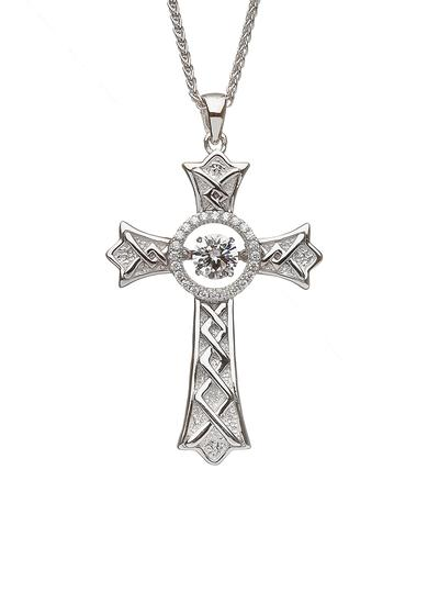 Sterling Silver Dancing Stone Celtic Cross