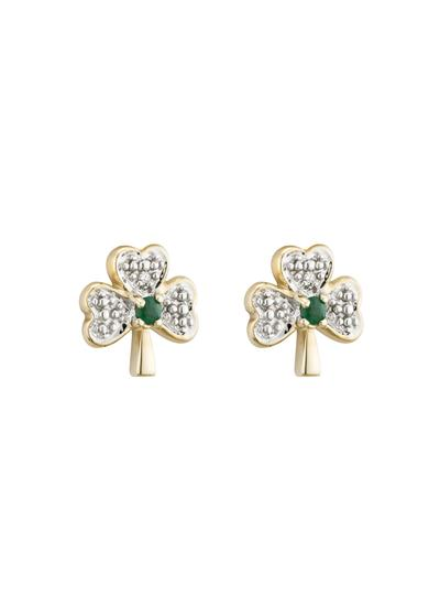 14K Gold Diamond & Emerald Shamrock Stud Earrings