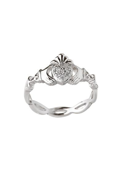 Sterling Silver Pave Set Claddagh Ring