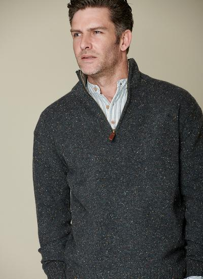 Donegal Fleck Half Zip Sweater