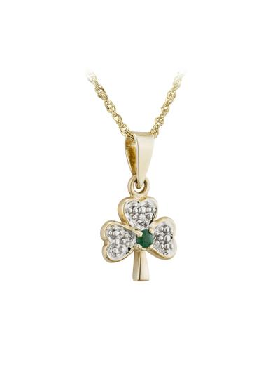 14K Gold Diamond & Emerald Shamrock Pendant