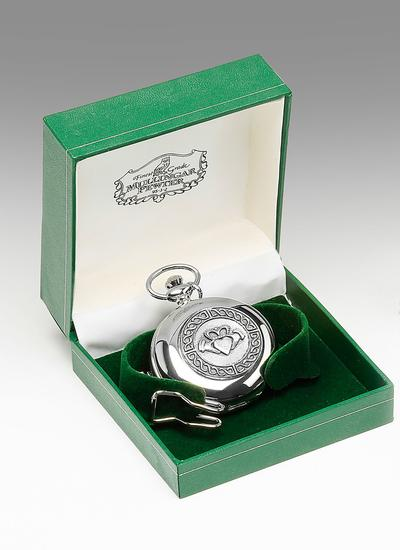 Engraved Celtic Claddagh Pocket Watch