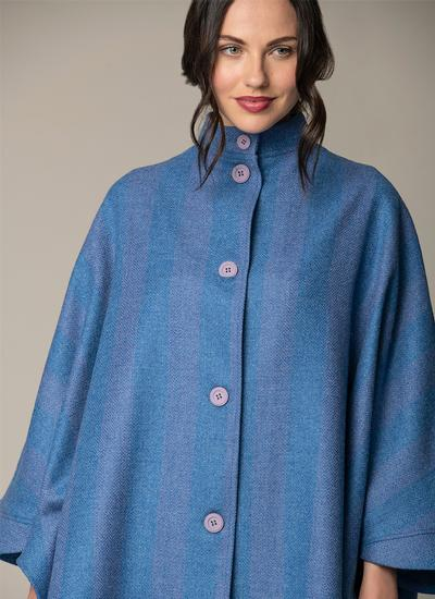 Evie Long Button Cape - Lavender Blue