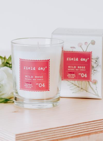 Large Wild Rose Candle