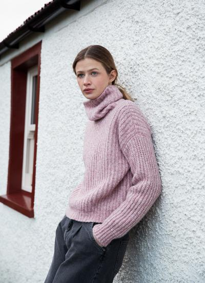 Fisherman Boxy Ribbed Polo Neck Sweater