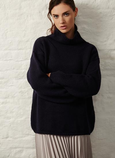 Fisherman Funnel Neck Slouchy Sweater