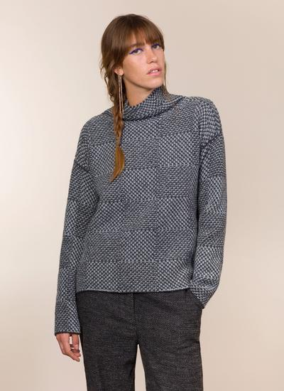 Fisherman Shadow Block High Neck Sweater
