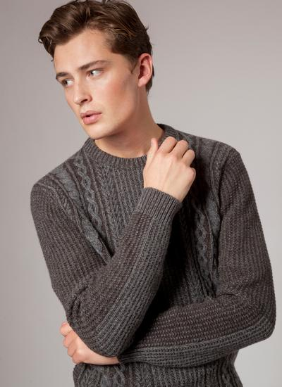 Fisherman Lambswool Plated Crew Neck Sweater