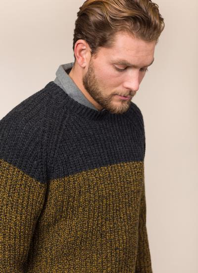 Fisherman Wool Cashmere Color Block Crew Neck