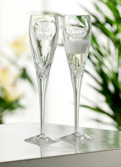 Galway Crystal Personalized Bride and Groom Floral Flute (Pair)
