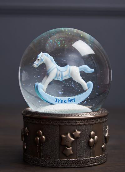 Rocking Horse Snow Globe - Boy