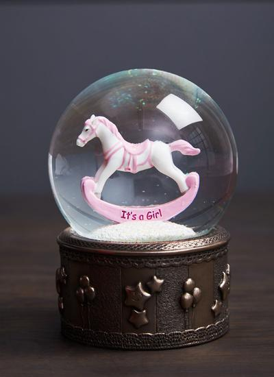 Rocking Horse Snow Globe - Girl