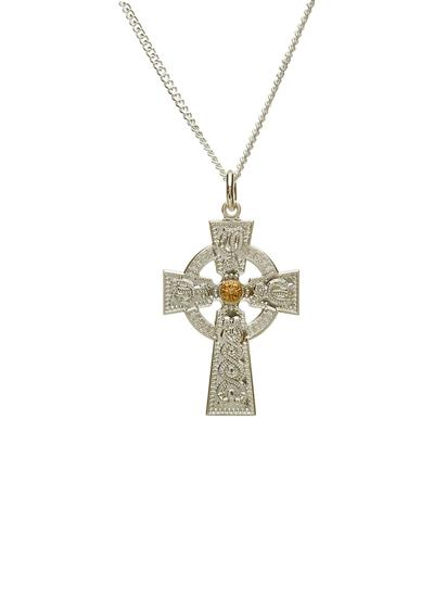 Gents Arda Celtic Cross with Rare Irish Gold