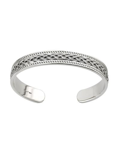 Gents Sterling Silver Celtic Knot Torc Cuff Bangle