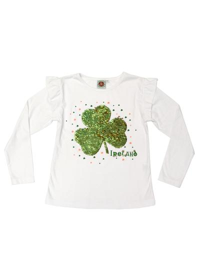 Girls Reversible Sequin Shamrock T-Shirt