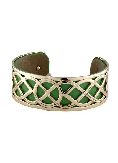 Gold Plated & Leather Celtic Knot Bangle
