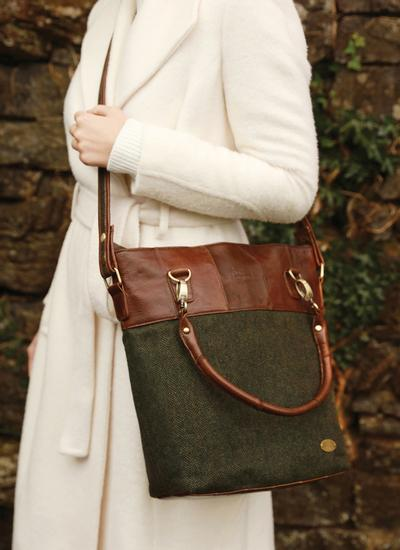 Herringbone Tweed Shoulder Bag