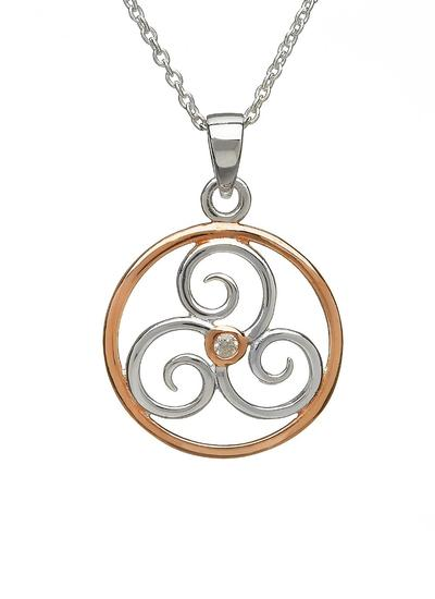 Sterling Silver and Irish Rose Gold Celtic Triskele Pendant