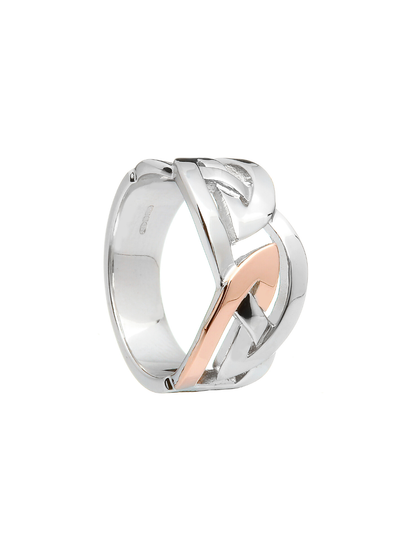 Gents Celtic Design Sterling Silver & Rose Gold Ring