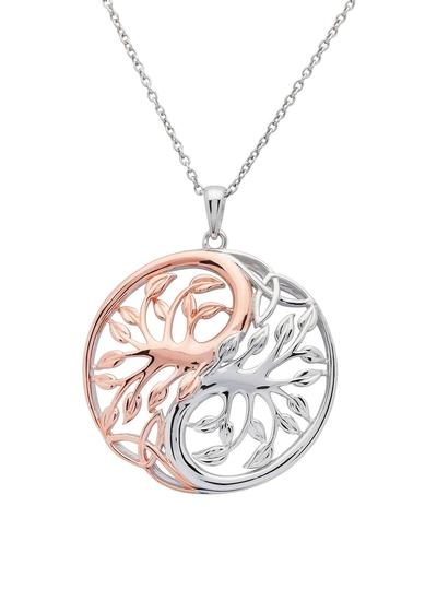 Sterling Silver & Rare Irish Rose Gold Tree of Life Pendant