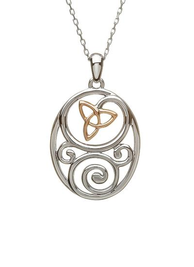 Sterling Silver & Irish Rose Gold Celtic Trinity Pendant